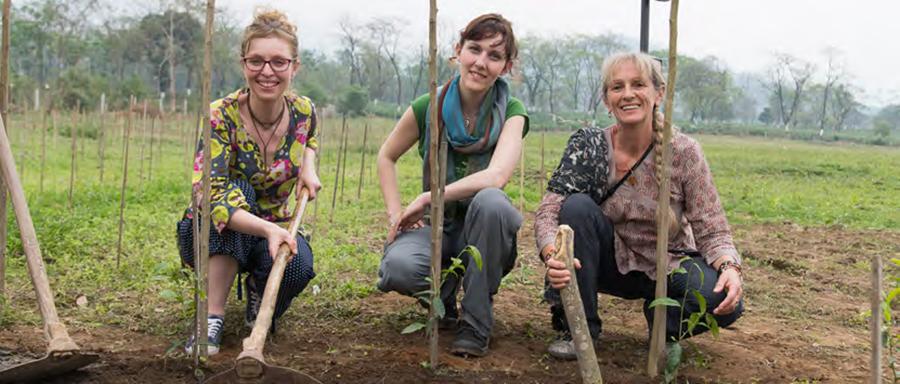 Arlette Rohmer, Sarah Albertini - formatrice à l'école de thé, Anne Florence - responsable des relations presse, plantant des théiers dans le jardin de Putharjhora, en Inde - Dooars.